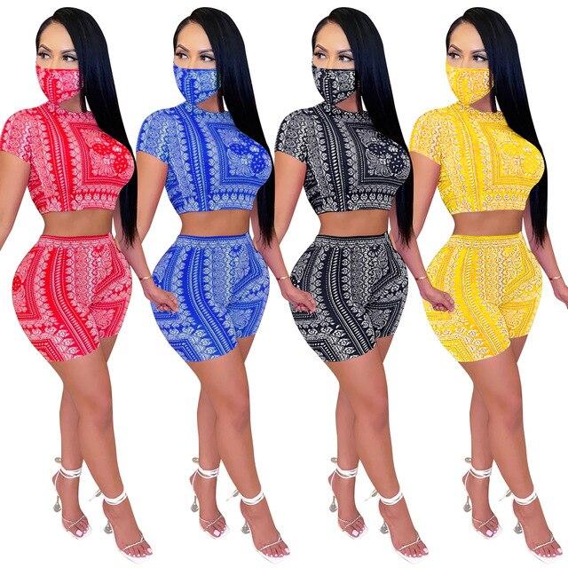 Conjunto de dos piezas de Bandana con máscara para mujer, conjunto de 2 piezas con estampado de bufanda y pantalones, 2020 1