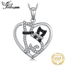 цена JPalace Cats Natural Black Spinel Pendant Necklace 925 Sterling Silver Gemstones Choker Statement Necklace Women Without Chain онлайн в 2017 году