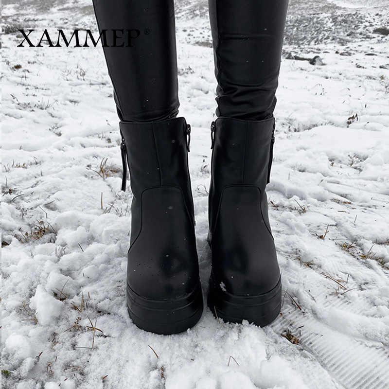 Vrouwen Leren Laarzen Kalfsleer Laarzen Kinderen Winter Schoenen Natuurlijke Wol Laarzen Merk vrouwen Schoenen Dikke Bodem Xammep