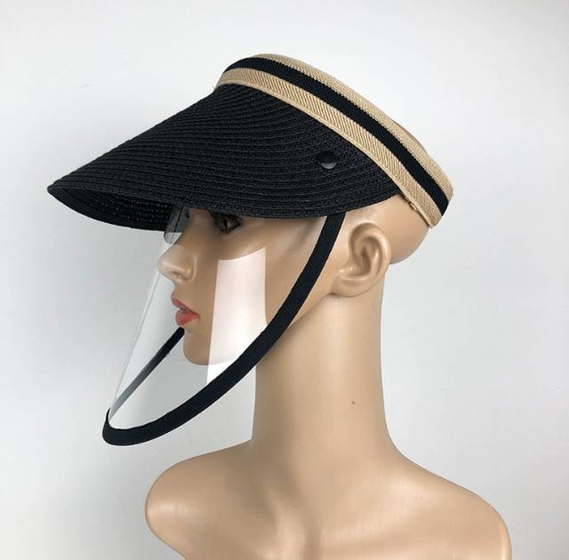 Anti Virus Sun Straw Hat Transparent Splash-proof Full Face Shield Mask Safe Protective Virus Protect anti Saliva Mask Shield 3