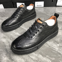 2021 New Men's Shoes Korean Casual Leather Shoes Autumn and Winter British Trend Low-top Shoes Brock Men 1