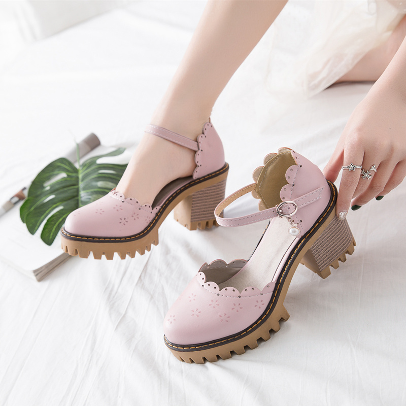 Korean Harajuku Style Round Head Japanese Mori Girl Vintage Cutout Heavy-Bottomed Coarse Heel Large Size 33-43 Lolita Shoes