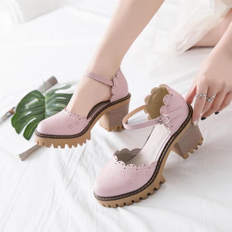 Korean Harajuku Style Round Head Japanese Mori Girl Vintage Cutout Heavy-Bottomed Coarse Heel Large Size 33-43 Lolita Shoes