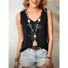 2021 Women's Summer New Style V-Neck Sleeveless Pullover Retro Urban Casual Black Printing Loose Bottoming T-Shirt