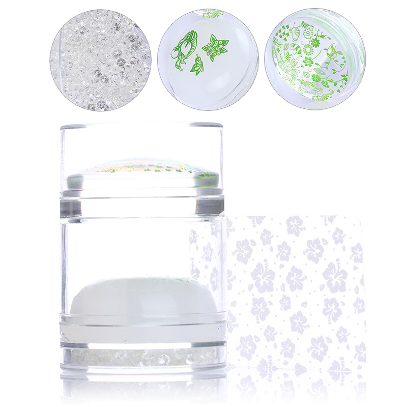 Dual-ended Clear White Jelly Stamper With Rhinestone Silicone Nail Art Stamper Set For Transfer Stamp Plates Image Scraper