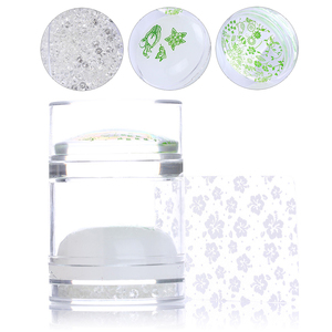 Dual-ended Clear White Jelly Stamper with Rhinestone Silicone Nail Art Stamper Set for Transfer Stamp Plates Image Scraper(China)