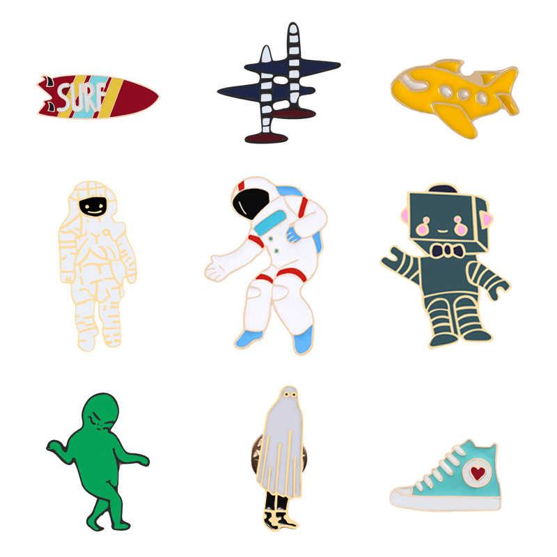 ミニエナメルピンブローチラペルピンサーフ航空機宇宙飛行士靴宝石類のギフトデニムジャケット隠さボタン子供のための