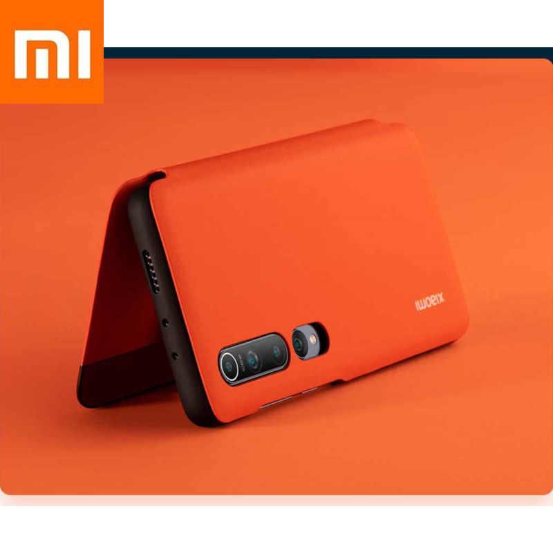 Asli Xiao Mi Mi 10 Kasus Ponsel Casing Smartphone Xio Mi Logo Pelindung Shell 100 Mi Llion Llion Piksel Pu Side flap 12GB256GB6.67inch