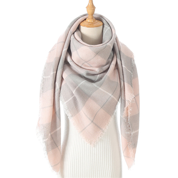 Women Knit Winter Scarf Cashmere Pashmina Female Plaid Warm Triangle Scarves Blanket Shawls Bandana Wraps Bufanda 2020 New - discount item  60% OFF Scarves & Wraps