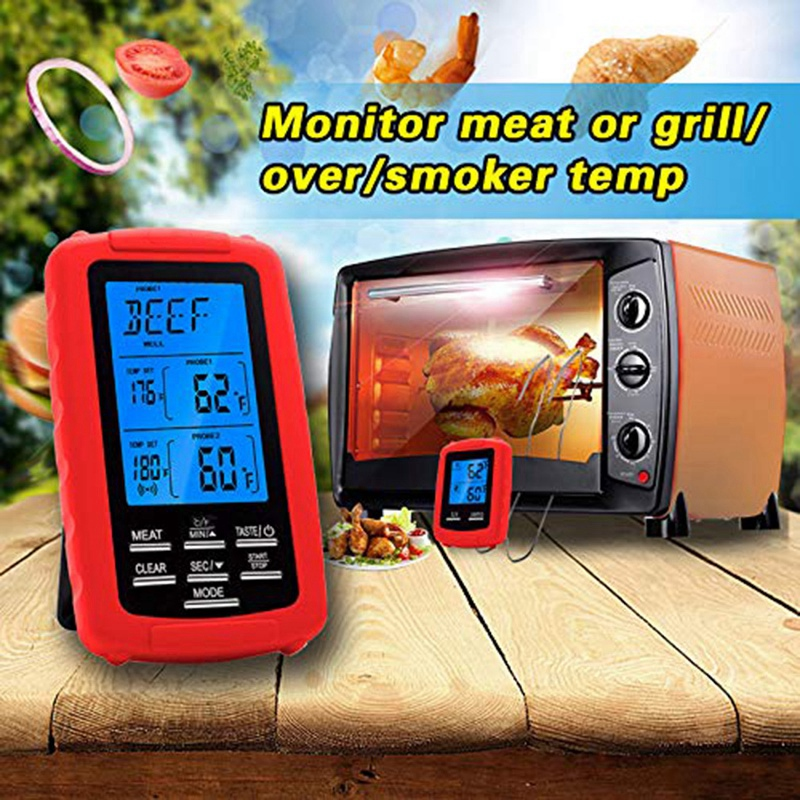 LBER Dual Probe Wireless Remote Meat Thermometer for Grilling BBQ Grill Smoker Oven Turkey Frying Instant Read Cooking Thermomet|  - title=