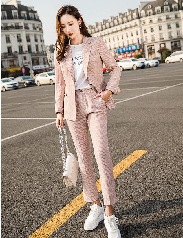 Mode Business Interview femmes gris rose rayé pantalon costumes grande taille travail porter bureau dames Slim formel Blazer et pantalon ensemble