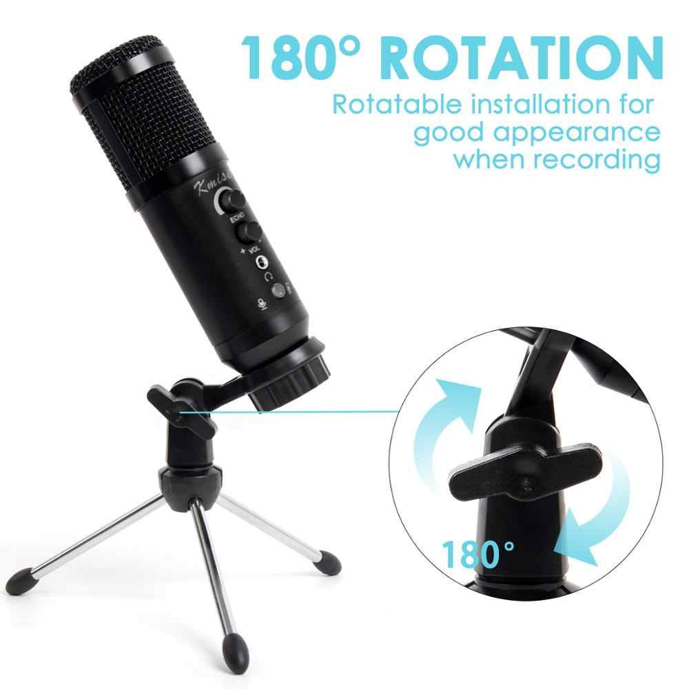 Kmise USB Condenser Microphone 16mm Large Diaphragm for Window&Mac Multipurpose Mic for Studio Recording Gaming Broadcast