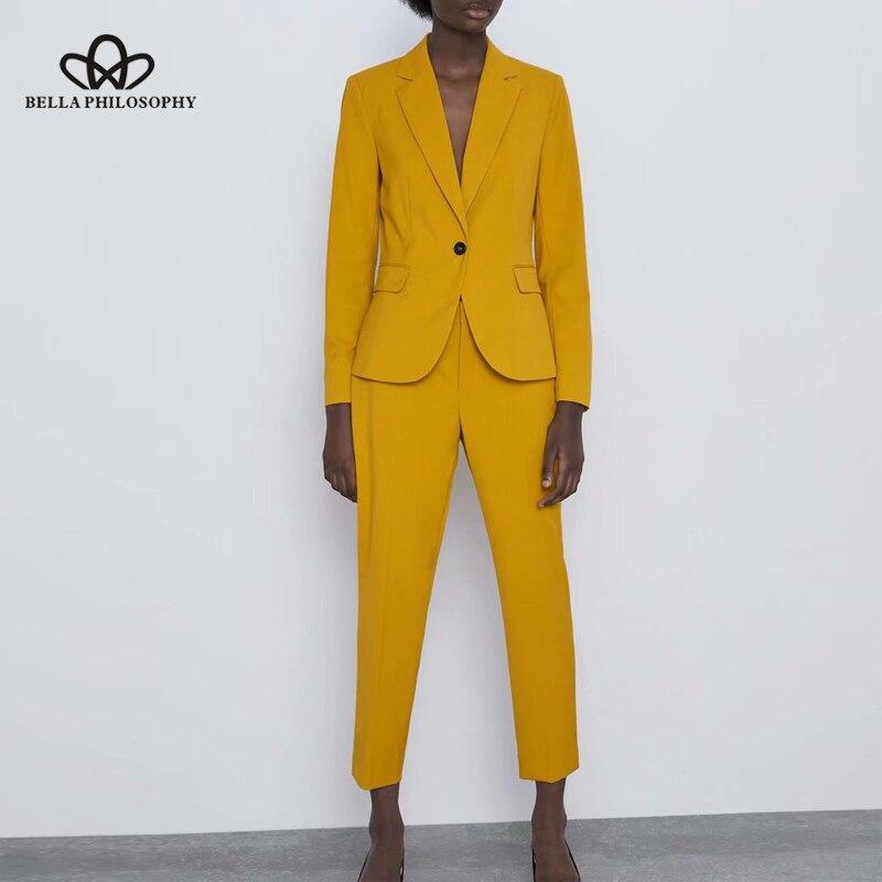 Bella Philosophy 2019 OL Solid Two Piece Suit Set Women Single Button Blazer Jacket  Female High Waist Pant Suits 2 Piece