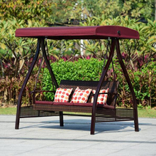Outdoor Iron Garden Swing Tent Double Rocking Chair Balcony Courtyard Leisure Rattan Chair Hanging Tent Chair