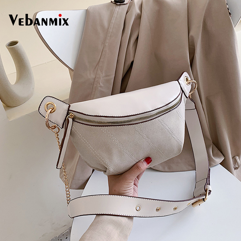 Vintage Scrub Leather Waist Bag Belt Fashion Chain Fanny Pack Banana New Brand Women Waist Pack Shoulder Chest Bags Belly Bag