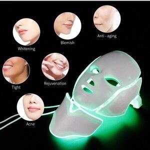 Image 4 - Masque de thérapie lumineuse à photons, LED 7 couleurs, soin de beauté anti rides, anti acné, avec rajeunissement et blanchiment de la peau du cou