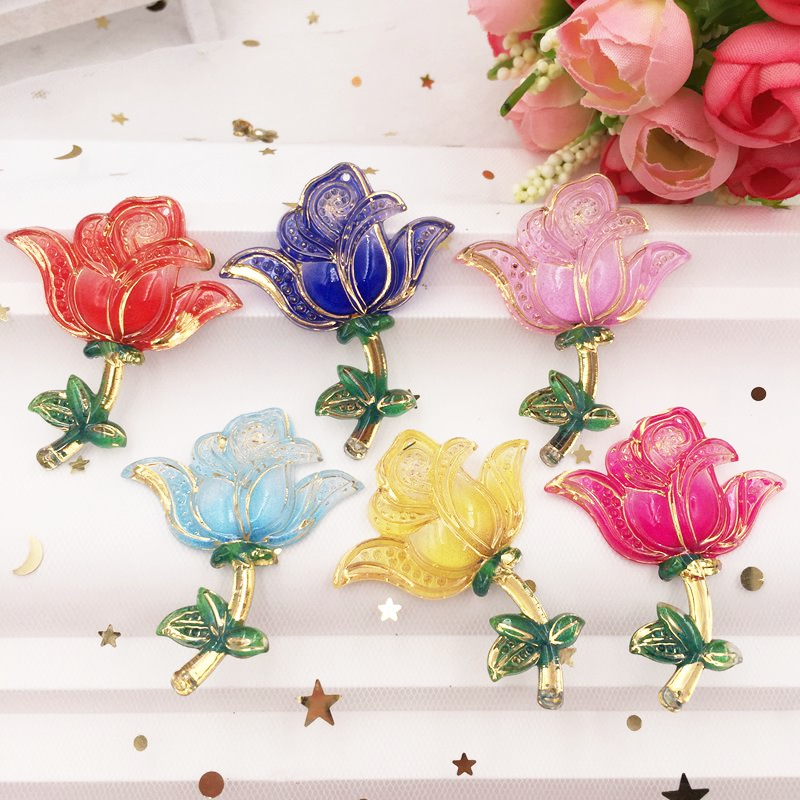 Shiny Colorful Resin Crystal Rose Flat Back Rhinestone Applique DIY Scrapbook Wedding 2 Hole Ornament Crafts G13