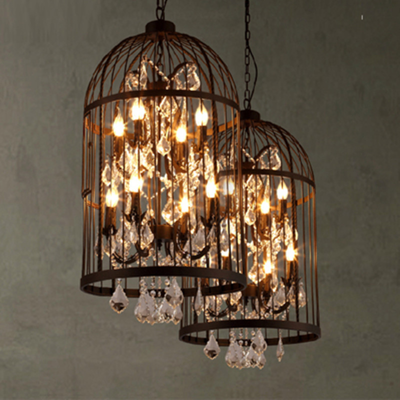 American Vintage Bird Crystal Restaurant Chandelier, Home Lamp, E14 Lamp, Villa Lamp, Iron Industrial Chandelier, Light Fixture