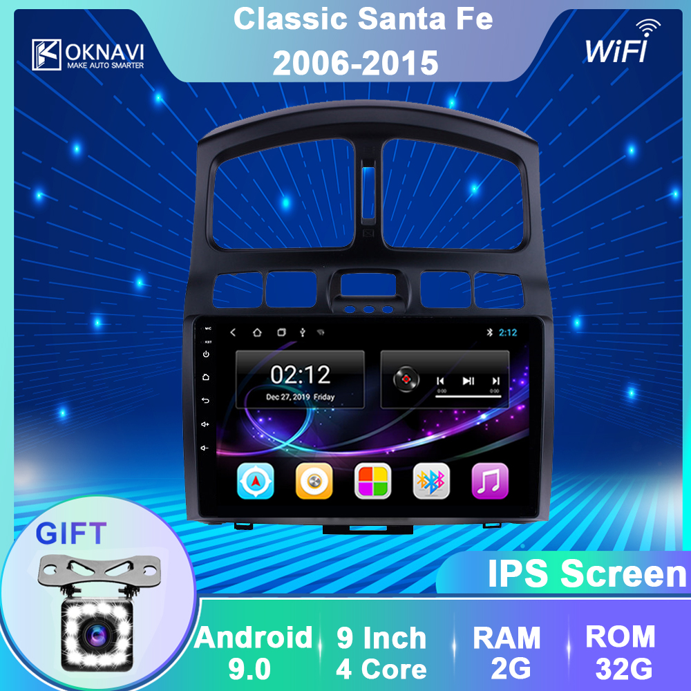 OKNAVI 2 Din Автомобильный мультимедийный плеер для Hyundai Classic Santa Fe 2006 2009-2015 GPS навигация автомобильный аудио стерео радио без DVD SWC