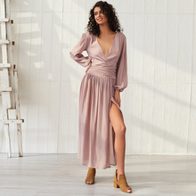 Dress Women New Bohemian Solid Color Sexy High Lantern Sleeve V-neck Winter Dresses 2019 Long Clothes