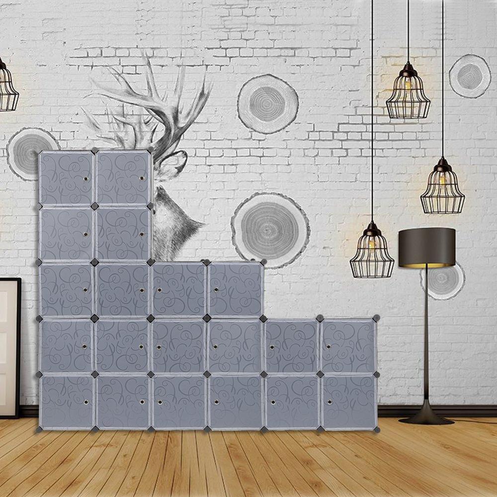 Garde-robe en plastique Cubes de rangement à emboîtement pour vêtements, motifs décoratifs translucides, noir et blanc élégant (20 cube) C04