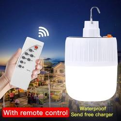 LED Lamp Rechargeable Led Bulb Lampada USB Solar Power Outdoor Hanging Night Light Market Fishing Hanging Camp Light Emergency