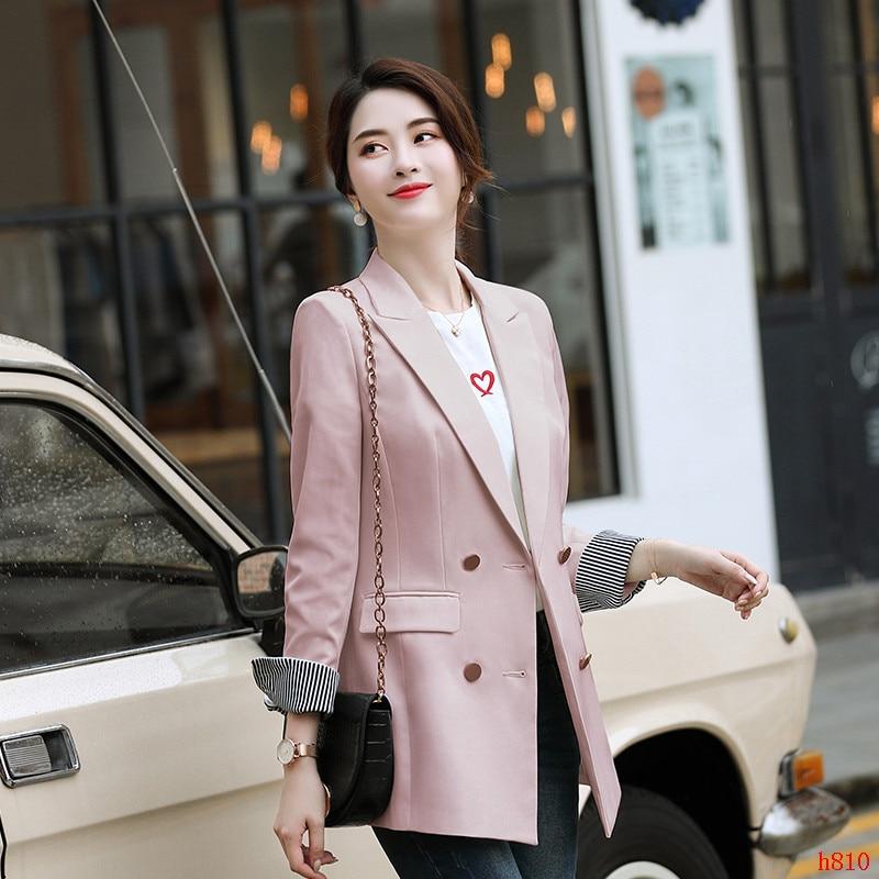 Female Elegant Formal Office Work Wear OL Women Blazers and Jackets Black Long Ladies Outerwear Coat Double Breasted OL Styles