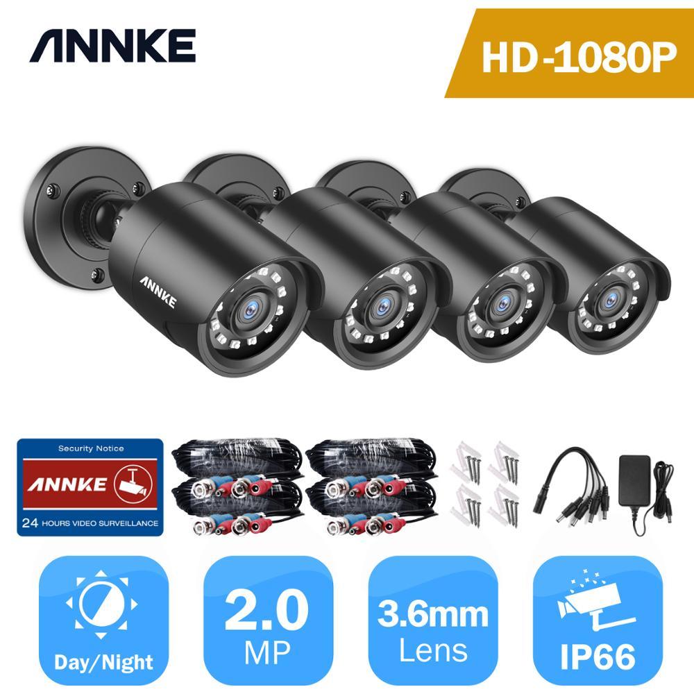 Annke 1080p hd tvi câmera de segurança 4 pçs 2mp bala kit habitação à prova de intempéries ao ar livre 66ft super visão noturna inteligente ir cctv câmera
