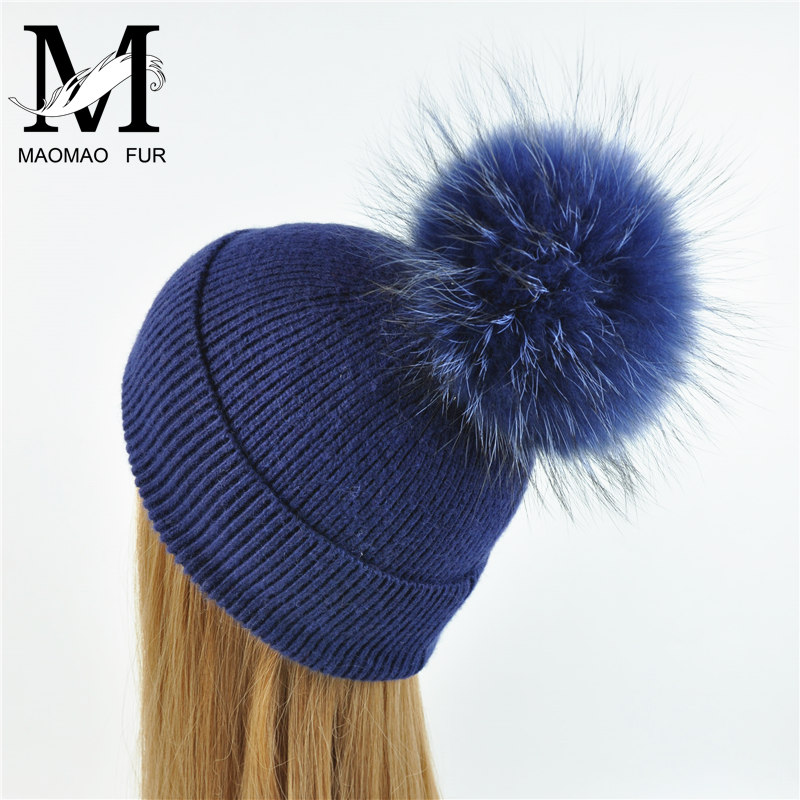 New Women's Hat Winter Beanie Knitted Hat Angora Rabbit Fur Bonnet Girl 's Hat Fall Female Cap with Fur Pom Pom Tops 2