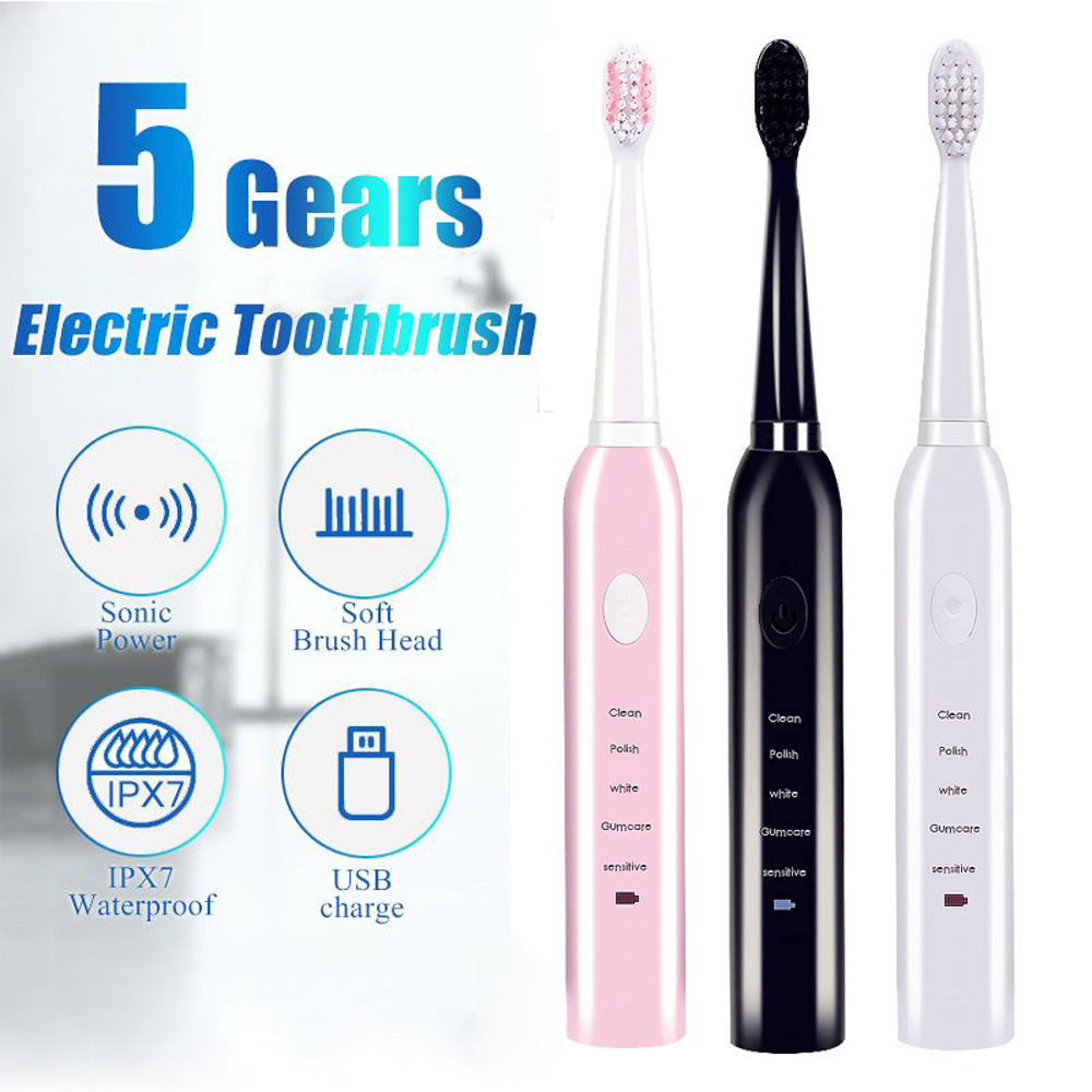 Мощная Ультразвуковая электрическая зубная щетка, перезаряжаемая зубная щетка с usb-зарядкой, моющаяся электронная отбеливающая щетка для зубов