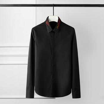 New Shirt Men Luxury Embroidery Long Sleeve Mens Shirts Fashion Casual Party Wedding Men Shirt Plus Size 4xl Slim Fit Shirts