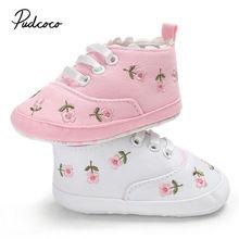 Pudcoco малыша обувь Baby новорожденного мальчика девочки мягкий твердый цветок печати Принцесса кроватки обувь Prewalker 0-18 м