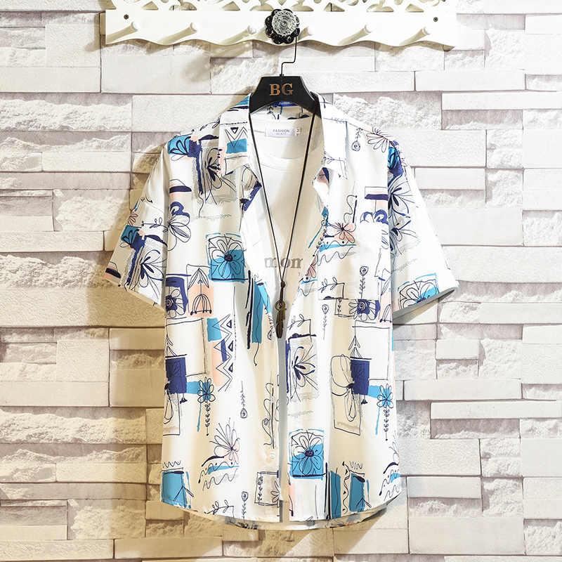 Camicia hawaiana Uomini Delle Donne 2020 di Estate del manicotto del bicchierino della camicia Della Rappezzatura Dell'annata della Camicia Degli Uomini di Strada Camicette per Gli Uomini