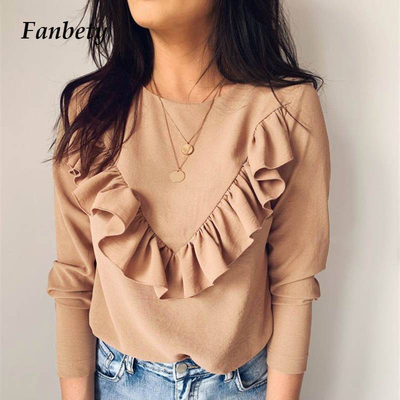 Lady Office Work Ruffles Blouses Elegant Women Long Sleeve O-Neck Shirts Tops Female Autumn Winter Solid Pullovers Dropshipping