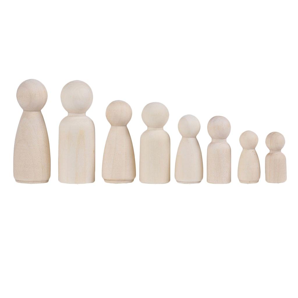 12 pçs/set de madeira pessoas peg boneca diy artesanato pequena criança homem