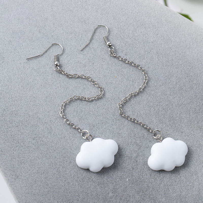 Длинные висячие серьги в форме облаков в Корейском стиле для женщин Акриловые белые висячие серьги с облаками Необычные геометрические мил...