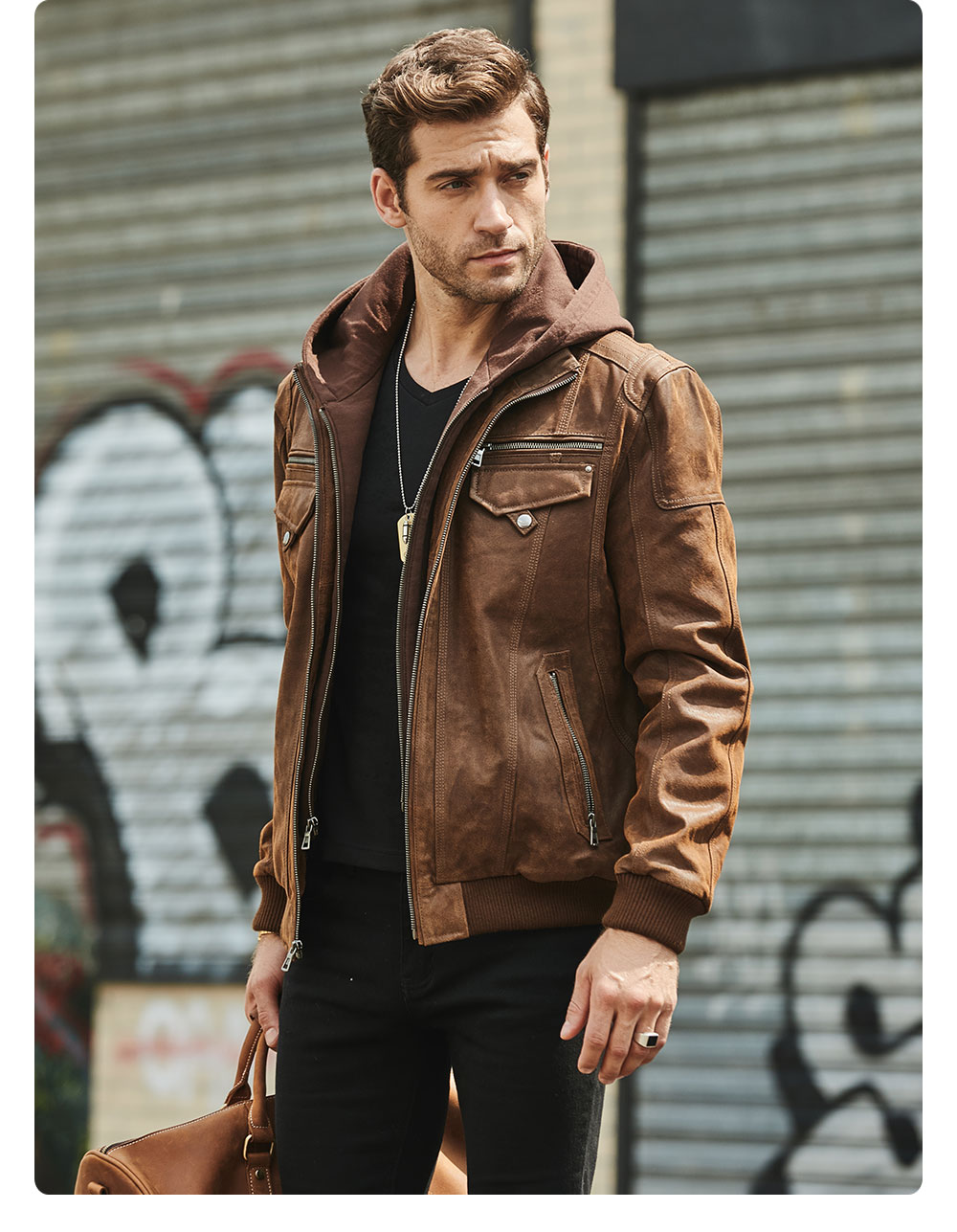 H99bf24b0cb3c49898a5fd896b3505bf3y FLAVOR New Men's Real Leather Jacket with Removable Hood Brown Jacket Genuine Leather Warm Coat For Men