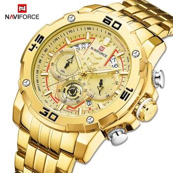 NAVIFORCE Mens Watches Sport Chronograph Luxury Gold Watch Men Quartz Wristwatch Date Waterproof Clock Relogio Masculino 2020 - discount item  50% OFF Men's Watches
