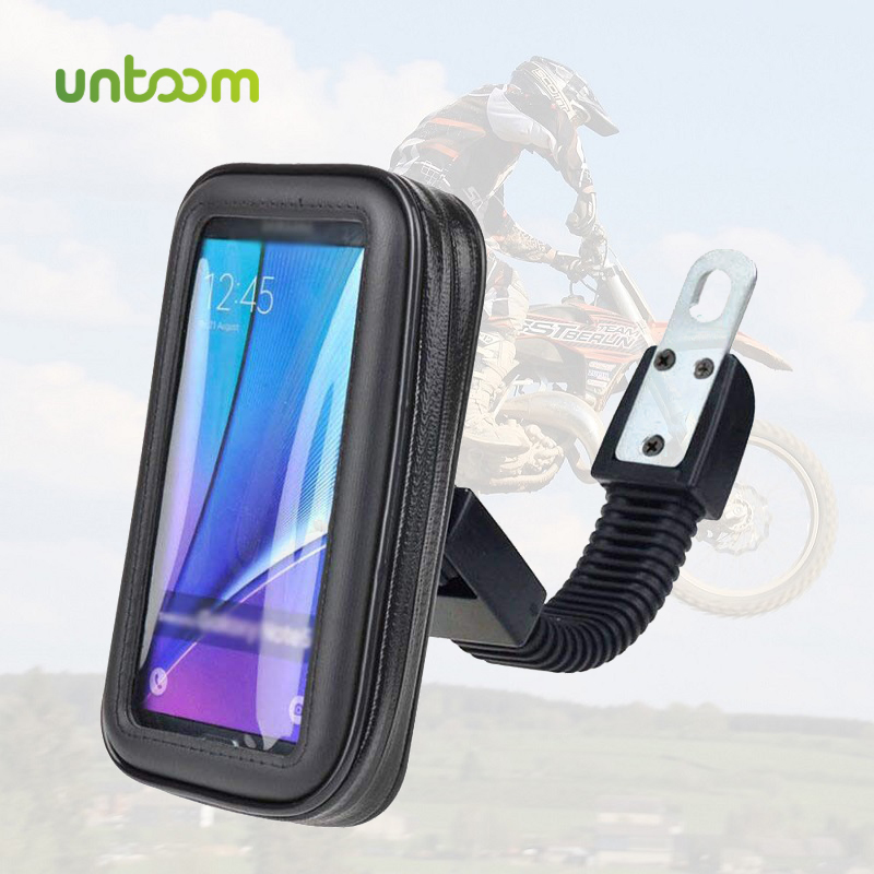 Untoom Motorcycle Phone Holder Moto Rear View Mirror Handlebar Stand Mount Scooter Motorbike Waterproof Bag Support Cell Phone