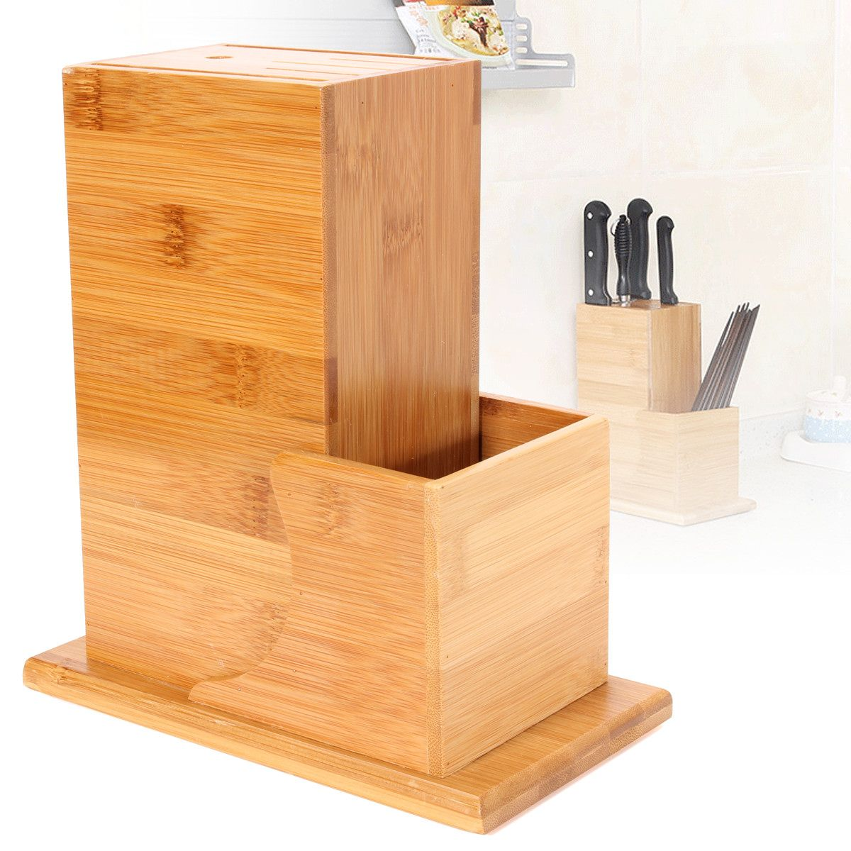 Bamboo Kitchen Wood Knife Holder Multifunctional Storage Rack Tool Holder Bamboo Knife Block Stand Kitchen Accessories