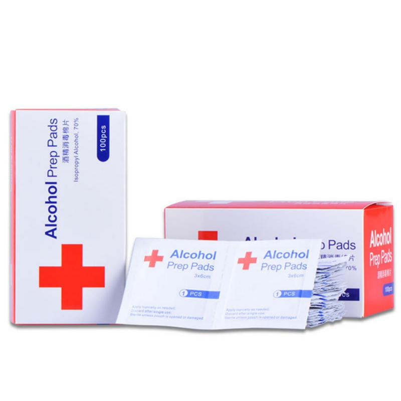 100pcs/1bag Disposable Alcohol Pads Alcohol Wipe Nail Cleaning First Aid Antibacterial Cleanser Household Health Care