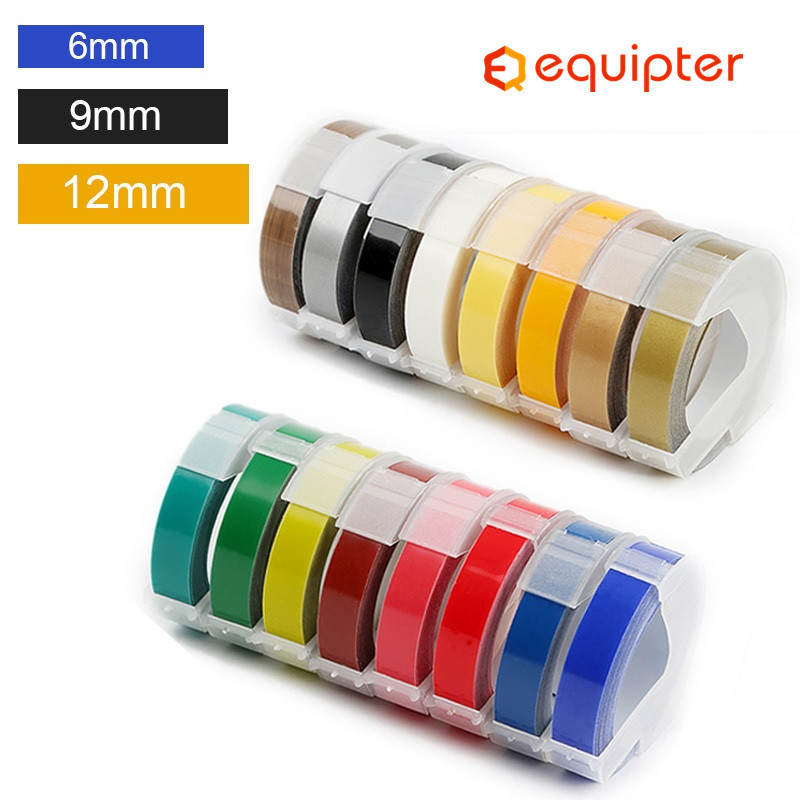 1Roll 6/9/12mm 3D Embossing PVC Label Tapes Compatible Dymo 1610 1880 12965 Manual Label Printers For Motex E101 Label Makers
