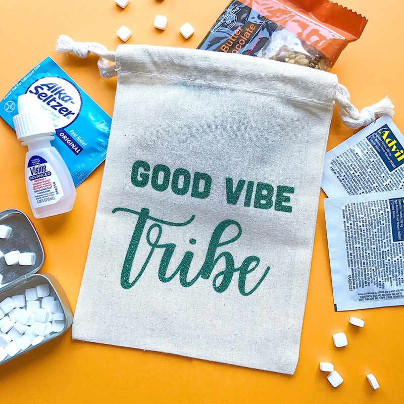 GOOD VIBE TRIBE Personalized Bridal Party Survival Kit Bags Bachelorette Favor Bag Wedding Gift Bag Welcome Bags Hungovers Bag