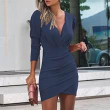Elegante Lente Herfst Solide Geplooide Jurk Women Fashion V-hals Bodycon Party Kleid Sexy Büro Dame Dünne Lange Mouwen jurk 20