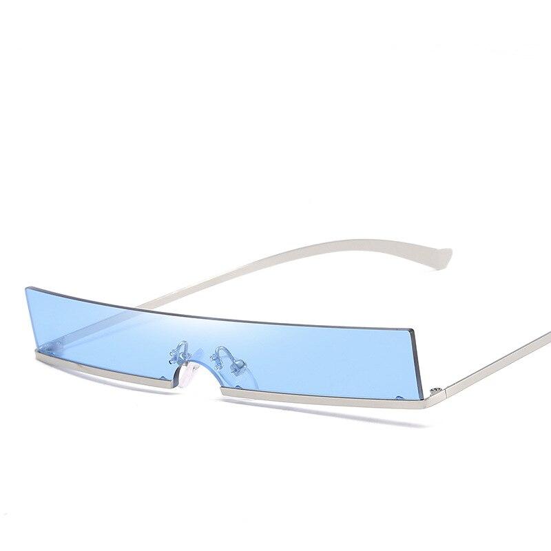 Óculos de sol retângulo clássico semi-aro, sexy, armação de metal, colorido, sem aro uv400