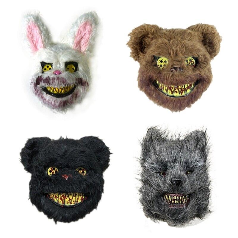 Halloween Mask Bloody Killer Rabbit Mask Plush Cosplay Terror Mask For Children Adult Toys