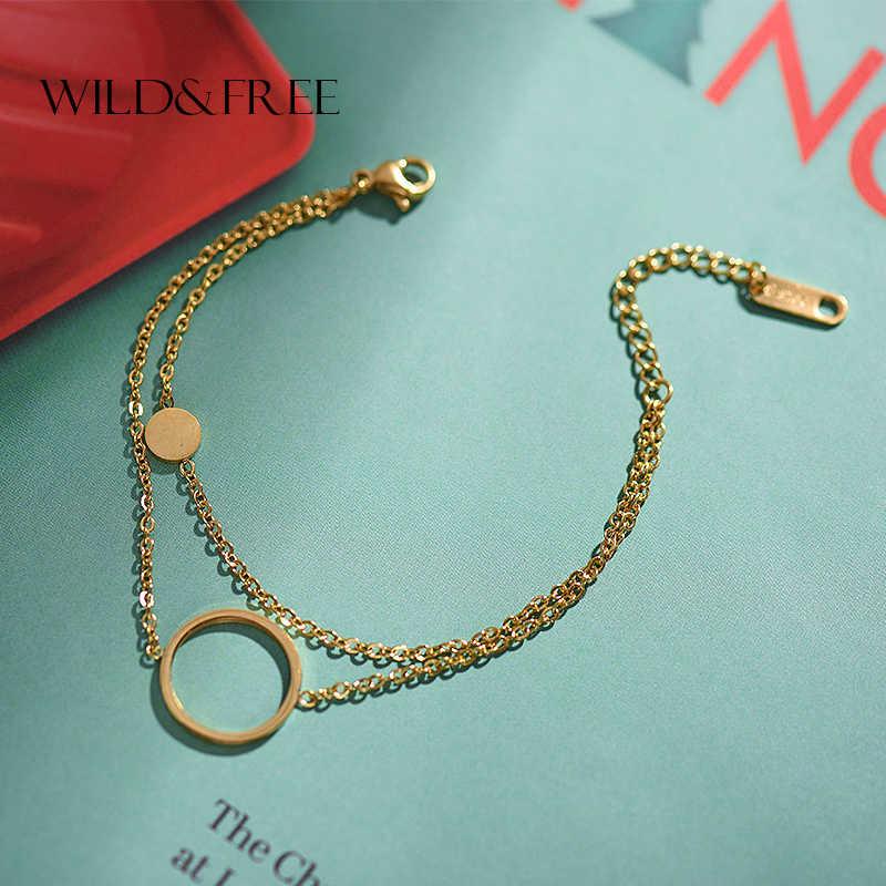 Wilden & Freies Edelstahl Layered Kette Kreis Armbänder Für Frauen Mode Schmuck Gold Runde Disc Anhänger Charme Körper Schmuck