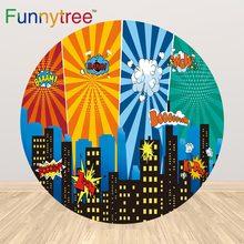 Funnytree super herói círculo redondo pano de fundo capa festa de aniversário do bebê recém nascido manga photozone photocall papel de parede decoração