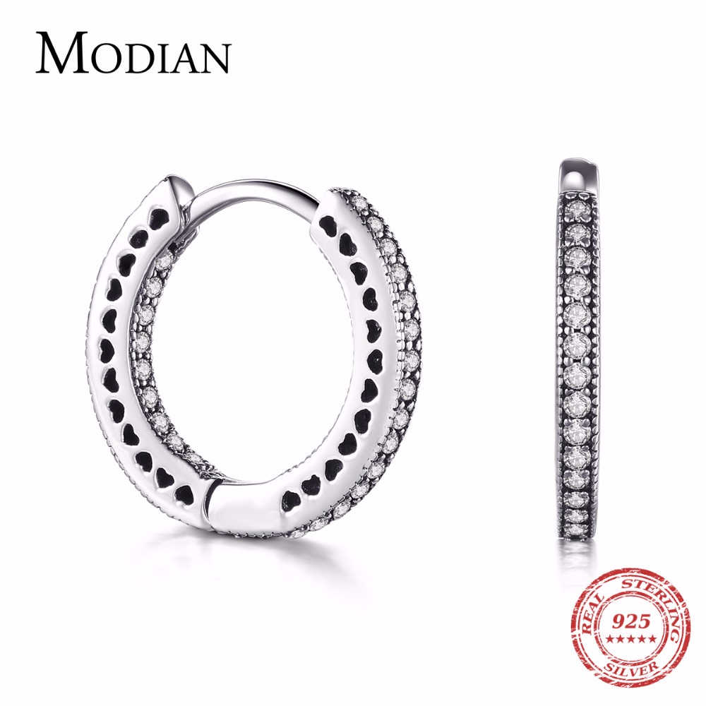 Modian Real 925 Sterling Silver Classic Full Hearts Hoop Earrings Luxury Cubic Zirconia Fashion Jewelry For Women Wedding Gift