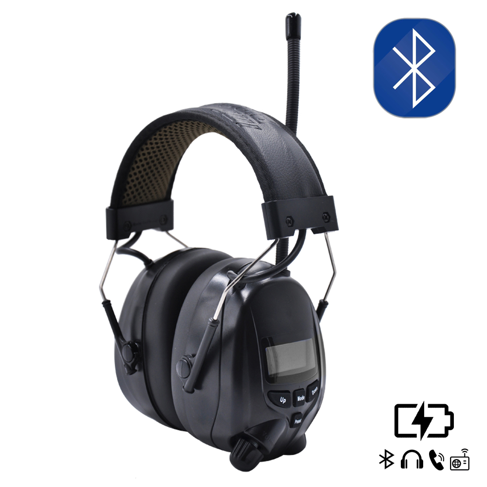 Lithium-Batterie Bluetooth Electronic Shooting Ohrenschützer Gehörschutz FM / AM Radio Ear Defenders Tactical Protector